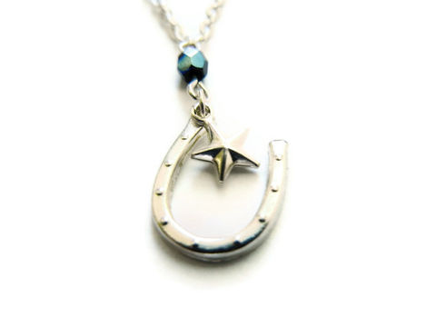 Lucky,Star,Silver,Charm,Necklace,lucky, star, horseshoe, horseshoe charm necklace, star charm necklace, star charm, horseshoe charm, silver, black, for her, jewelry, release me creations, necklace