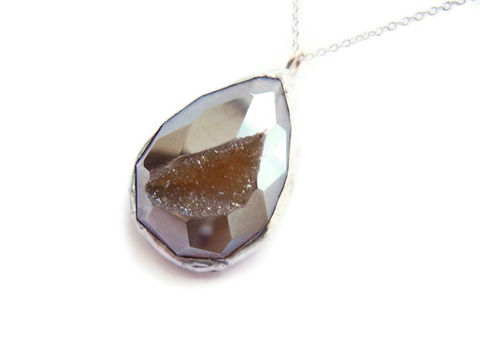 Champagne,Faceted,Druzy,Agate,Teardrop,Necklace,champagne, jewelry, for her, necklace, druzy, druzy agate, faceted gemstone, sterling silver chain, sterling silver necklace, gemstone jewelry, druzy agate necklace, release me creations