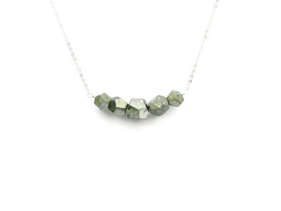 RESERVED FOR ANGIE: Faceted Pyrite Geometric Bead Necklace - product image