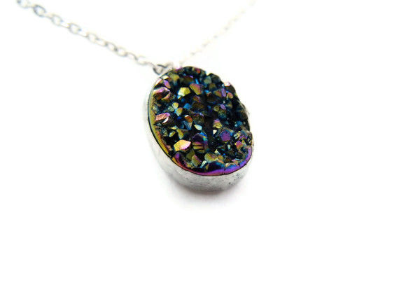 Rainbow Titanium Oval Agate Druzy Gemstone Necklace - product image  