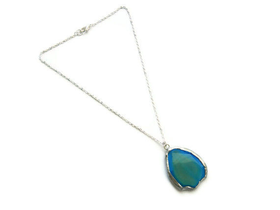 Caribbean Blue and Yellow Agate Gemstone Necklace - product image