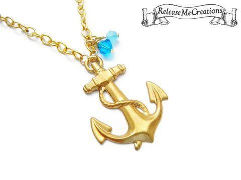 Nautical,Gold,Turquoise,Blue,Anchor,Swarovski,Crystals,nautical necklace, nautical anchor, anchor necklace, nautical jewelry, release me creations, gold, turquoise, peacock, blue, bohemian jewelry, nautical