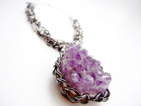 Edgy,Rocker,Statement,Amethyst,Necklace,rocker, chic, jewelry, release me creations, amethyst, druzy, drusy, couture jewery, fashion jewelry