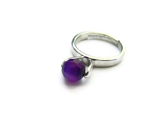 Faceted Floating Purple Agate Orb Ring - product image