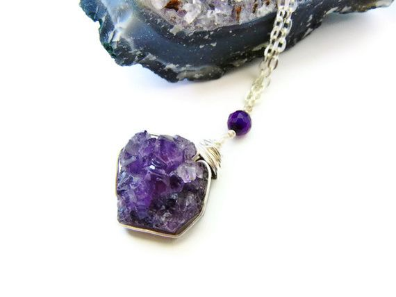 Wire Wrapped Amethyst Drop Necklace - product image