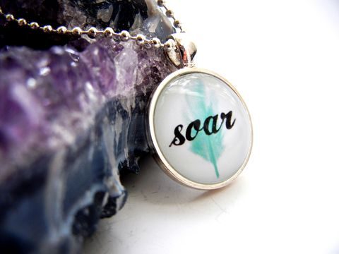 Soar,Blue,Feather,Necklace,bright silver, pastel, blue, feather, soar, fly, jewelry, release me creations, for her, positive, empowerment
