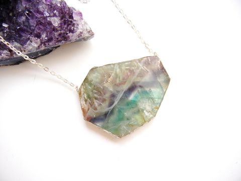 RESERVED,FOR,LAURIE:,Dramatic,Geometric,Fluorite,Slab, gemstone, necklace, for her, jewelry, rainbow, blue, mint, seafoam, teal, purple