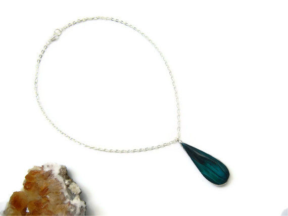 Teardrop Emerald Green Onyx  Druzy Necklace - product image