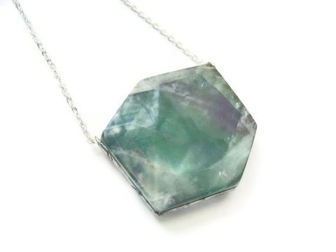 Dramatic,Geometric,Fluorite,Slab,Necklace, gemstone, necklace, for her, jewelry, mint, seafoam green, purple, release me creations, geometric, one of a kind, handmade