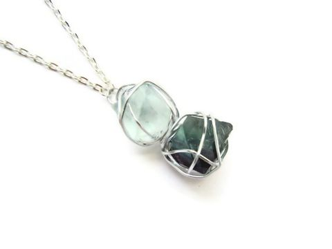 Caged,Double,Fluorite,Octahedron,Necklace