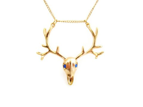 Gold,and,Blue,Retro,Deer,Antler,Necklace,funky, retro, gold, blue, Swarovski Crystal, deer skull, antlers, hipster jewelry, for her, gothic, kitschy, Release Me Creations