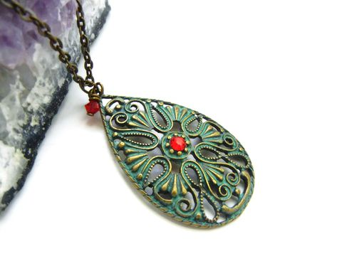 Green,Blue,Patina,Filigree,Teardrop,Pendant,patina, filigree, bronze, green blue, mint, red, Swarovski Crystal, Siam Red, Release Me Creations, for her, jewelry