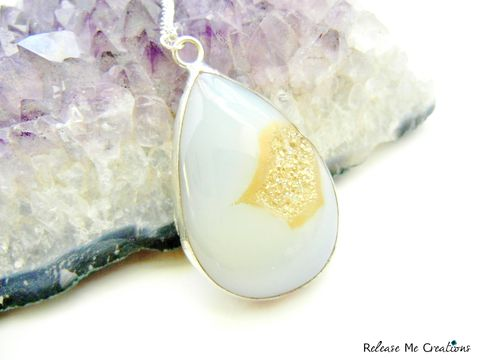 Rare,White,and,Gold,Titanium,Druzy,Gemstone,Necklace,titanium druzy, gemstone, necklace, release me creations, for her, white, gold, crystal, quartz
