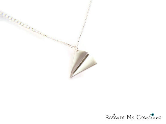 Paper Airplane Silver Charm Necklace - product image