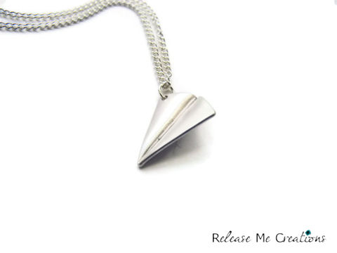 Paper,Airplane,Silver,Charm,Necklace,paper airplane, whimsy, whimsical, silver, crystal ab, geometric, for her, gift, romantic, theartisangroup