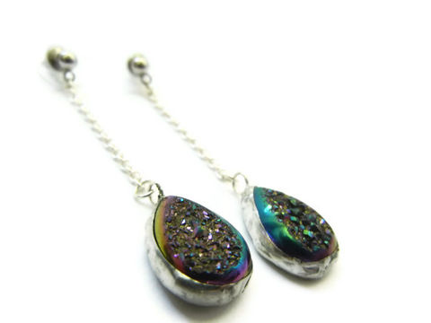 RESERVED:,Titanium,Druzy,Teardrop,Earrings,earrings, titanium druzy, dangle, bling, release me creations