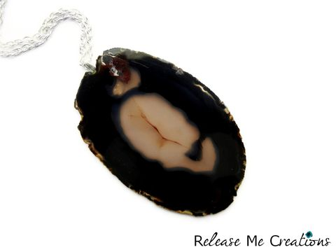 Statement,Onyx,Black,Opaque,Agate,Necklace, Statement, Raw, Natural, Bohemian, Jewelry, Release Me Creations, necklace, for her, gift