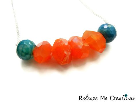 Caribbean,Sunrise,Coral,Carnelian,Blue,Green,Dragon,Agate,Necklace,carnelian, coral, blue, green, dragon agate, necklace, jewelry, release me creations, gift, for her, gemstones