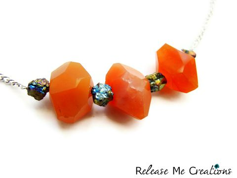 Carnelian,Titanium,Druzy,Necklace, Titanium Druzy, Raw, Freeform, Natural, Colorful, bright, release me creations, necklace, jewelry, for her, gift