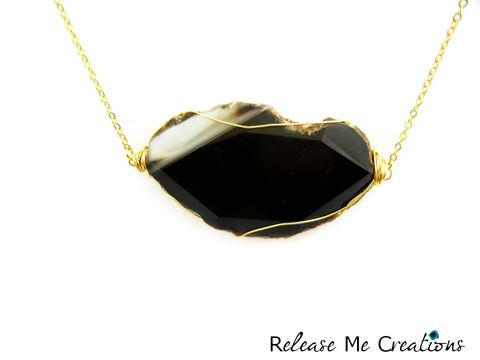 Black,Agate,Gold,Wire,Caged,Gemstone,Necklace