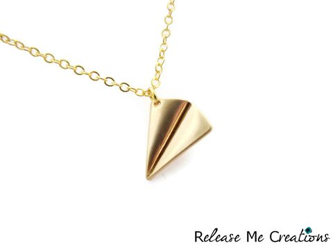 Paper,Airplane,Gold,Charm,Necklace