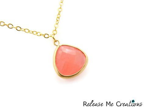 Petite,Faceted,Pink,Glass,Teardrop,Necklace,gold, pink, glass, teardrop, necklace, release me creations, for her, jewerly, gift idea, romantic