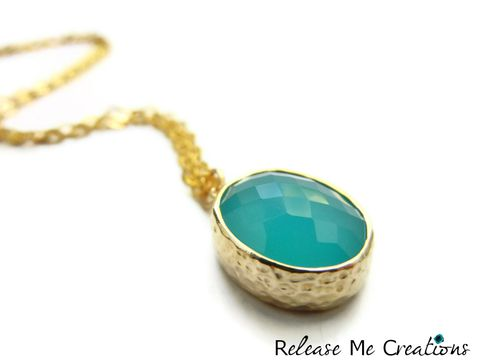 Oval,Teal,Faceted,Glass,Drop,Necklace,teal, blue, faceted, gold, bohemian, release me creations, necklace, for her, gift