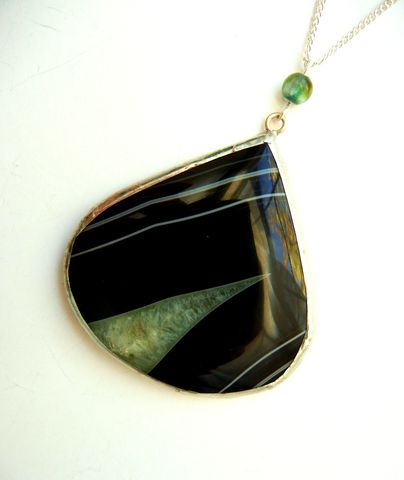 Black,Green,Onyx,Agate,Large,Teardrop,Necklace,onyx agate, teardrop, gemstone, whimsical, unique, necklace, for her, jewelry, release me creations, black, green