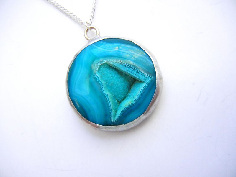Ocean Blue Onyx Agate Druzy Necklace Release Me Creations