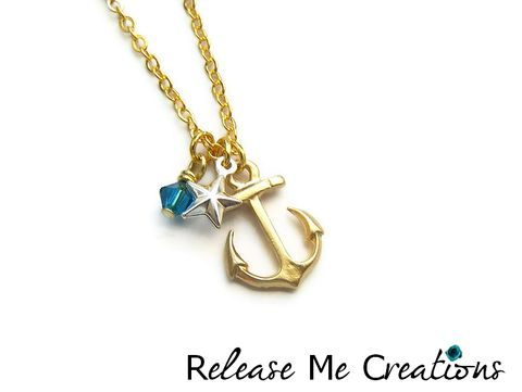 Petite,Nautical,Star,Anchor,Necklace,anchor, nautical, for her, star, faceted, whimsical, romantic, release me creations, gold