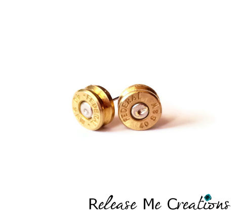 Federal,Smith,and,Wesson,Bullet,Stud,Earrings,bullet, federal, smith and wesson, 40mm, hunting, nra, earring, post, stud, for her, for him, unisex, gift, release me creations
