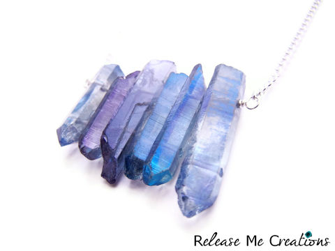 RESERVED,LISTING:,Amethyst,Aura,Quartz,Crystal,Wall,Necklace,aura quartz, crystal, titanium, purple, healing, jewelry, for her, release me creations
