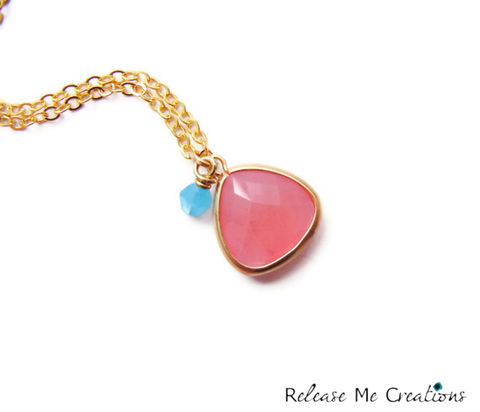 Romantic,Pink,Faceted,Teardrop,Blue,Swarovski,Necklace