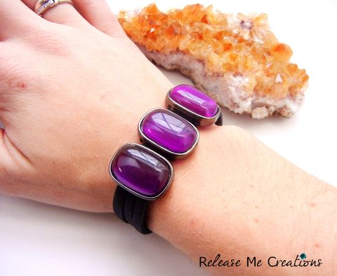 Edgy,Purple,Glass,Leather,Bracelet,cuff, leather, bracelet, purple, amethyst, release me creations, glass, for her, gift