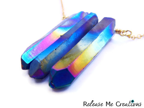 Rainbow,Aura,Quartz,Crystal,Point,Necklace,rainbow aura quartz crystal, healing, blue, pink, green, jewelry, purple, release me creations, for her, edgy, urban outfitters