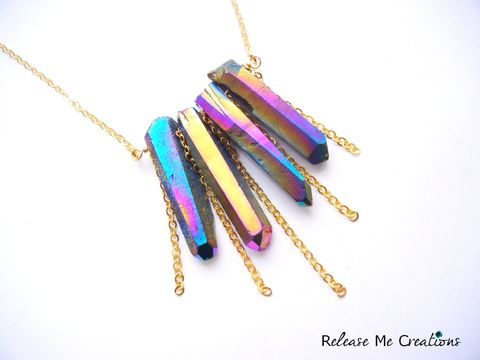 Rainbow,Titanium,Druzy,Cascading,Gold,Chain,Necklace,gift, edgy, jewelry, rocker, titanium druzy, rainbow, colorful, shimmer, release me creations, necklace, for her, gift, chain
