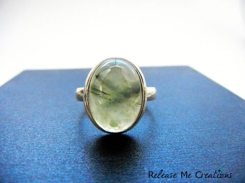 Beautiful,Light,Green,Prehnite,Sterling,Silver,Ring,ring, prehnite, green, sterling silver, 11, thumb ring, healing, jewelry, for her, gift, release me creations