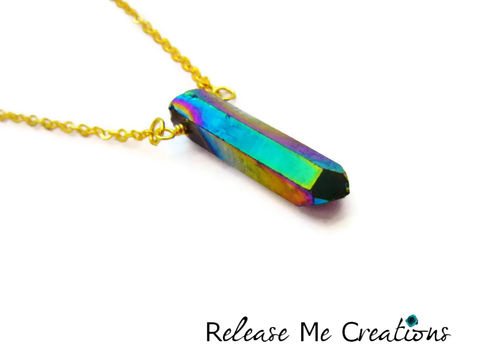Single,Rainbow,Titanium,Quartz,Crystal,Point,Necklace,Silver,Gold,titanium quartz, rainbow, crystal, necklace, for her, edgy, chic, fashion, colorful, spring, jewelry, release me creations
