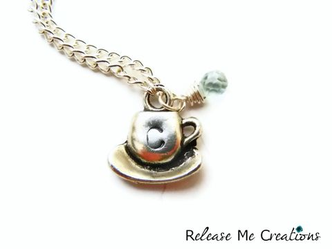 Coffee,Lovers,Charm,Necklace,Monogram,Initial,Personalized,coffee, tea, teacup, caffeine, coffee lover, stamped, hand stamped, tea lover, starbucks, initial, monogram, jewelry, necklace, charm, personalized, for her, gift, release me creations