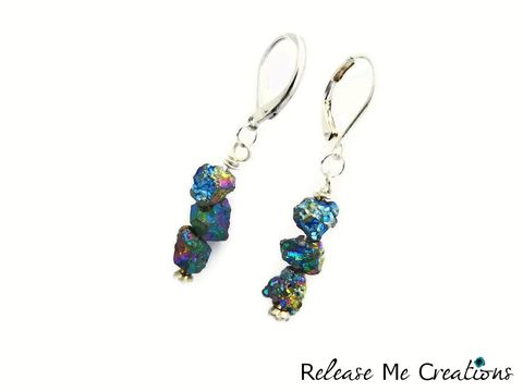 Cosmic,Titanium,Druzy,Drop,Earrings,Rainbow,Leverback,Rhinestone,earrings, titanium druzy, cosmic, rainbow, leverback, gemstone, semi precious gemstone, raw gemstone, release me creations, for her, gift