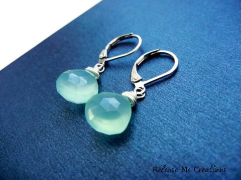 Seafoam,Blue,Faceted,Chalcedony,Leverback,Teardrop,Earrings,chalcedony, faceted, gemstone, AAA, seafoam, blue, green, earrings, leverback, earwires, releasemecreations, for her, gift, jewelry