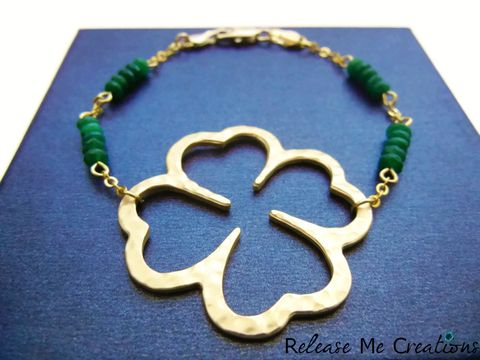 Four,Leaf,Clover,Emerald,Green,Jade,Bracelet,Irish,Celtic,St.,Patricks,lucky, gold, stpatricksday, irish, celtic, emerald, jade, green, four leaf clover, clover, quatrefoil, bracelet