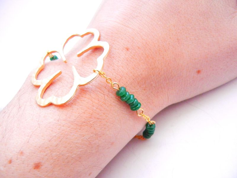 Four Leaf Clover Emerald Green Jade Bracelet Irish Celtic St. Patricks - product image