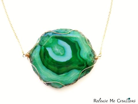 Emerald,Green,Dragon,Agate,Gold,Statement,Necklace,emerald, pantone, color of the year, green, dragon agate, statement necklace, jewelry, for her, releasemecreations, semi-precious, gemstone