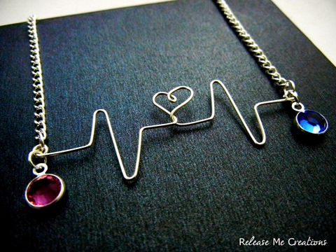 CUSTOM,ORDER:,Customized,Silver,Heartbeat,Necklace,Two,Birthstones,Mother,Daughter,customized, personalized, heart transplant, birthstones, heart, heartbeat, necklace, for her, release me creations, sapphire, tourmaline, pink, blue