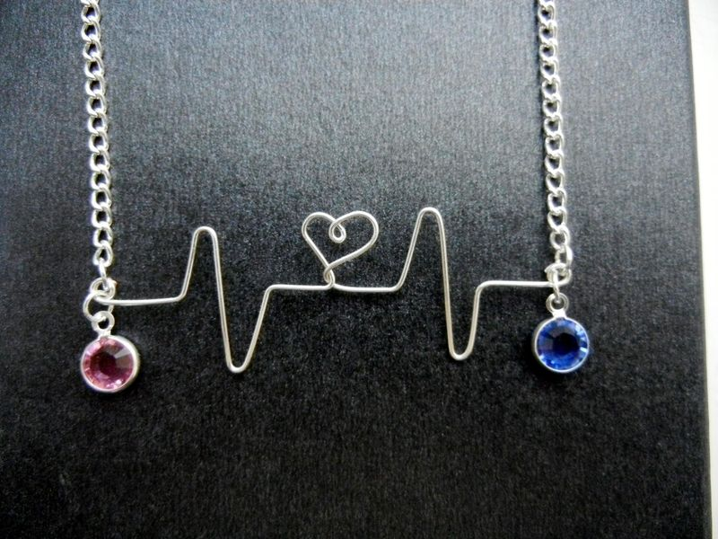 Custom order customized silver heartbeat necklace two birthstones custom order customized silver heartbeat necklace two birthstones mother daughter product image aloadofball Gallery