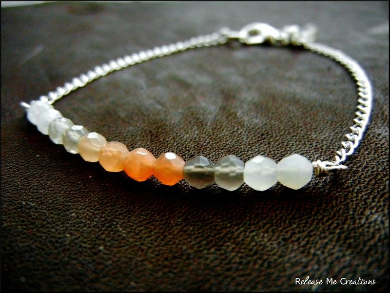 Ombre Peach and Gray Moonstone Bracelet - product image