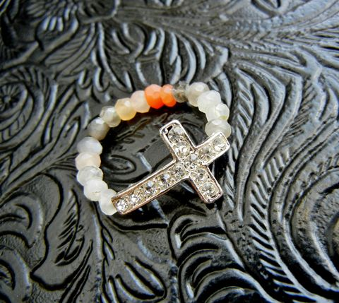 Ombre,Peach,Gray,Moonstone,Sideways,Cross,Ring,multi moonstone, ring, gemstone, ombre, peach, gray, white, rhinestone, cross, christian, religious, crucifix, sideways cross