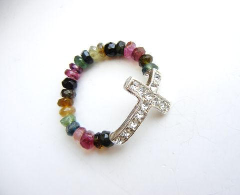 Multi-Tourmaline,Sideways,Cross,Ring,Pink,Green,Yellow,multi tourmaline, ring, gemstone, green, black, yellow, pink, red, rhinestone, cross, christian, religious, crucifix, sideways cross
