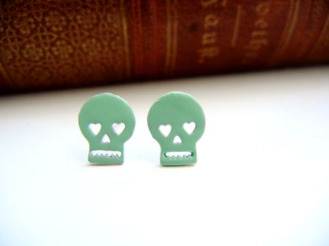 Mint,Skull,Dia,de,Los,Muertos,Earrings,skull, mint, blue green, dia de los muertos, earrings, post earrings, cinco de mayo, pastel, spring, for her, gift, teen